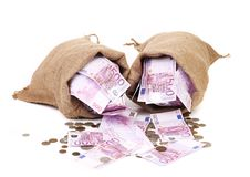 Two bags with much money Royalty Free Stock Images