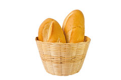 Two baguette in basket. With whote background Royalty Free Stock Image