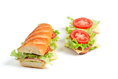 Two baguette sandwiches Royalty Free Stock Images