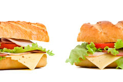 Two baguette sandwiches Stock Photography
