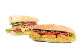 Two baguette sandwiches. Royalty Free Stock Photo