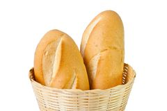Two  baguettes in basket Royalty Free Stock Photography