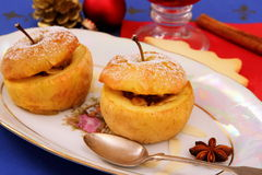 Two baked apples as Christmas Dessert Stock Image