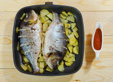 Two baked fish with potato in the pan. And sauce Stock Image
