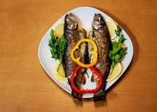 Two baked trouts on wooden background Stock Photo