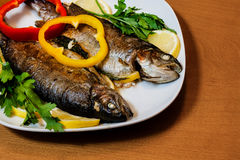 Two baked trouts on wooden background. Selective focus Royalty Free Stock Photo