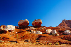 Two balanced rocks, Twin Rocks, Capital Reef National Park, USA Stock Photography