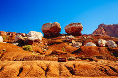 Two balanced rocks, Twin Rocks, Capital Reef National Park, USA Royalty Free Stock Image