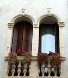 Two balconies with Venetian-style terrace Stock Photo