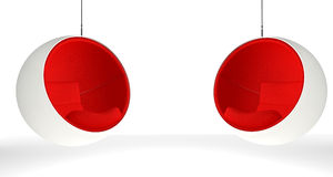 Two ball chairs with red seats stock illustration