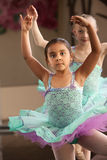 Two Ballerinas. Cute little girls in ballet dresses practice in a studio Royalty Free Stock Photography