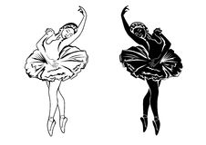 Two ballerinas. Vector white and black silhouettes of  dancer isolated Royalty Free Stock Image