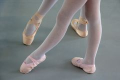 Two ballerinas in ballet shoes royalty free stock image
