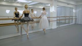 The two ballerinas do plie, goes left in releve position and turns right doing pour de bourree in the studio. The one lady wears black tutu and her colleague stock video footage