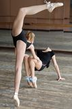 Two ballerinas rehearsing in the studio Stock Photos