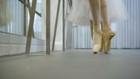 Two ballet dancers stand on their toes in ballet studio indoors. Graceful females in pointe shoes practice choreography in modern school. Beautiful women stock video