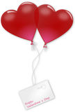 Two balloon hearts valentine`s day Royalty Free Stock Photo
