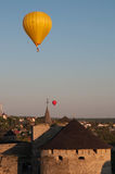Two balloons flight. Two balloons flying over the castle Royalty Free Stock Photos