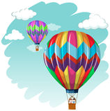 Two balloons flying in the sky Royalty Free Stock Images
