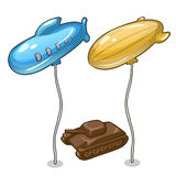 Two balloons in form of airship and chocolate tank Royalty Free Stock Photo