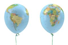 Two balloons with a picture of the political map stock illustration