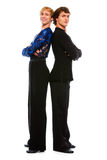 Two ballroom male dancers standing back to back. Two ballroom dancers standing back to back Stock Image
