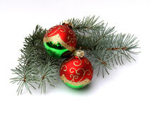 Two Balls And Fir Branch Stock Photo