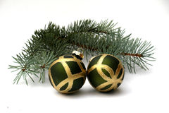 Two Balls and Fir Branch Stock Photos