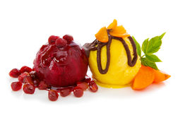 Two balls fruit ice isolated on white . Royalty Free Stock Photos