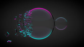 Two balls, one of them broken, with splinters. With purple and blue light. 3D render Stock Images