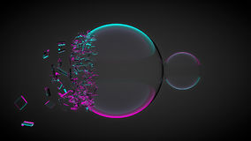 Two balls, one of them broken, with splinters. With purple and blue light. 3D render Stock Photo