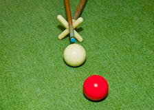 The Two balls on  snooker table Royalty Free Stock Photography