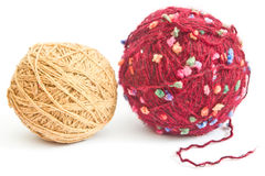 Two balls of wool. On a white background Stock Images