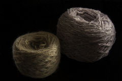 Two balls of wool. On a black background. yarn of isolated Stock Photography