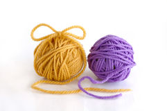 Two balls of the yarn. Two balls with yarn against the white background Stock Images