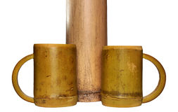 Two bamboo cups and dry bamboo stalk  on white backgroun Stock Photography