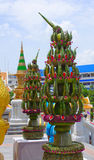 Two banana leaves installation near the enter to Wat Traimit also known as Golden Buddha temple, Bangkok, Thailand Royalty Free Stock Photography