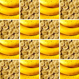 Two banana textures inside square shapes. Background made of identical square shapes full of banana textures: bananas and banana slices stock images
