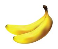 Two bananas. Isolated on white background Stock Photography
