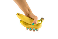 Two bananas in a female hand. On the isolated background Stock Images