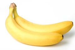 Two bananas isolated on white. clipping path incl. Royalty Free Stock Image