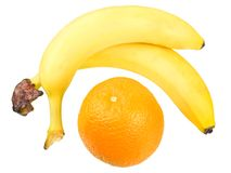 Two bananas and orange Royalty Free Stock Photography
