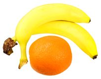Two bananas and orange Royalty Free Stock Photo