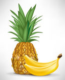 Two bananas and pineapple Royalty Free Stock Images