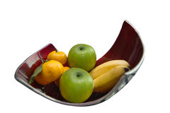 Two bananas, two apples, three orange, fruit basket on the table. Isolated on white background Royalty Free Stock Image