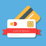 Two bank or discount cards with a red ribbon. stock illustration