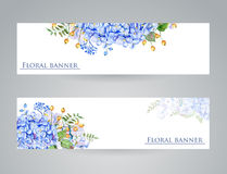 Two banner with blue flowers Royalty Free Stock Images