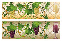 Two banner with red white wine Stock Images