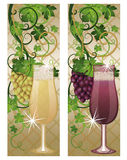 Two banner with wineglasses and grapes Stock Images