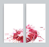 Two banners with abstract eclectic images. Bright stains, red blots, texture shapes and geometric elements on the white. Two banners with abstract eclectic stock illustration